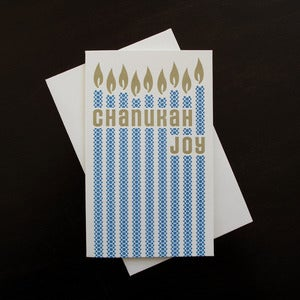 Image of 1513B - chanukah joy letterpress card - set of 6