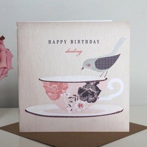 Image of 'Happy Birthday Darling' Teacup Card