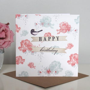 Image of Vintage Floral 'Happy Birthday' Card