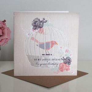 Image of 'Lovely Friend' Birdcage Birthday Card