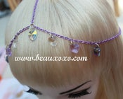 Image of Chain Head Piece Chain Headdress Triple Stranded Purple Chain Swarovski Heart Hair Jewellery