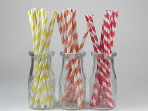 Image of Citrus Coloured Striped Paper Straws