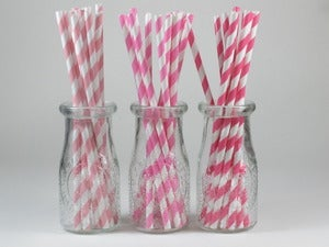 Image of Assorted Pink Striped Paper Straws