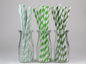 Image of Assorted Green Striped Paper Straws