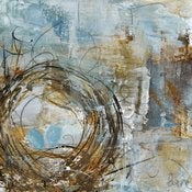 Image of Original art by Melissa Payne Baker - 8&quot;x 8&quot; Nest in Gold and Blue