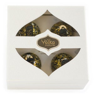 Image of Four Black Foil Ornaments <br> in a White Gift Box