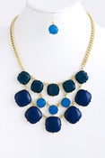 Image of  Square Bubble Necklace and Earrings: Navy