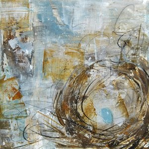 "Image of Original art by Melissa Payne Baker - 8""x 8"" Nest in Blue and Gold"