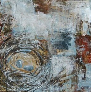 "Image of Original painting by Melissa Payne Baker - 10""x 10"" Nest in Rust and Blue"