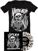 "Image of The Vipers / The Catastrophe<br>'Split'<br>7"" (Vinyl) [Clear w/ Black Splatter] & T-Shirt"