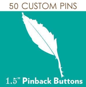 Image of 50 Custom Pinback Buttons great for Weddings & Theme Parties