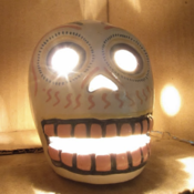 Image of Hand Painted Mexican Skull Candle Holder