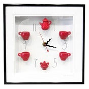 Image of Red Tea Set Clock with Numbers by Carlos Silva