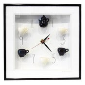 Image of Black & White Tea Set Clock with Numbers by Carlos Silva
