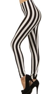 Image of Black and white striped leggings