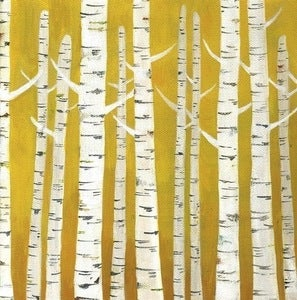 Image of Birch Tree Print on Yellow