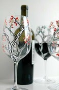 Image of Black and White Trees with Autumn Leaves--Set of 2 Hand Painted Wine Glasses