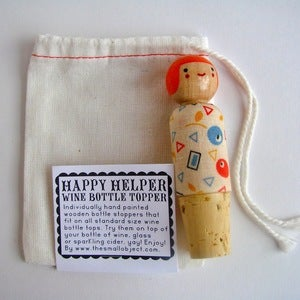 Image of Happy Helper Wine Bottle Topper - Orangey