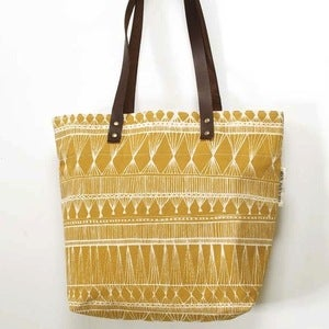 Image of Mustard Yellow Market Weave Screen-Printed Tote Bag