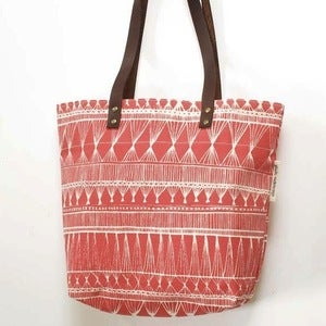 Image of Coral/Red Market Weave Screen-Printed Tote Bag
