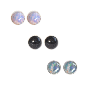 Image of Nebulah. Tiny Semi Precious Stone Earrings