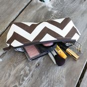 Image of pencil pouch - chocolate brown chevron
