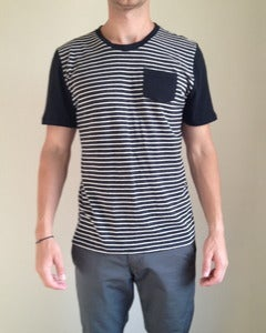 Crew Neck w/ Pocket Black Stripes