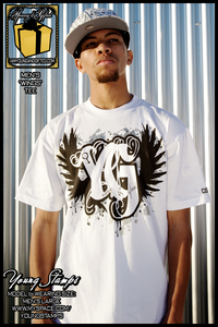 "Image of ""YG WINGS SILVER FOIL"" Mens Tee (White)"