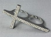 Image of Silver and Rhinestone Double Cross Earrings 