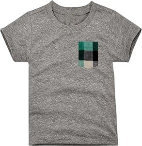 Image of Plaid Pocket Tee Heather Gray