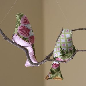 Image of Garden Pinks Bird Mobile Duo {TOP SELLING FABRIC COMBO}