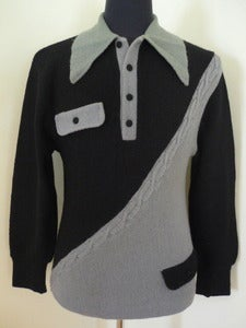 Image of 50s grey &amp; black two-tone wool sweater