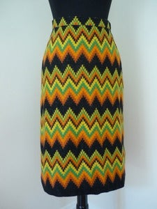 Image of 70s ethnic zig-zag woven skirt