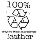 Image of all items are made from recycled leather &/or post-manufacture leather and hardware