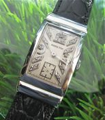 Image of MEGA RARE HAMILTON PLATINUM DIAMOND DIAL 1930s DECO TANQ - SOLD!