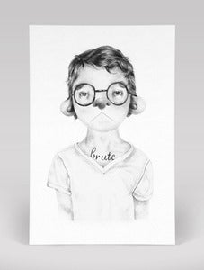 Image of Boy With Brute Tattoo Postcard Print