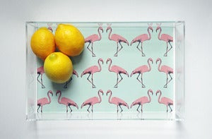 Image of Mint Flamingo Lucite Tray with Handles