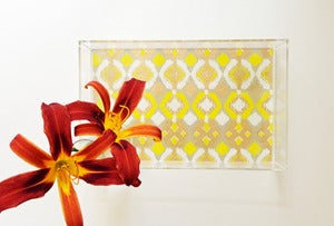 Image of Yellow // Gold Ikat Lucite Tray with Handles