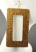 Image of Gold Rhinestone Rectangle Earrings 