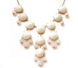 Image of Bubble Necklace: White with Clear beads