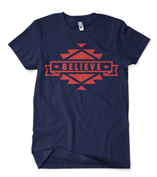 Image of Aztec Navy with Red Believe Tee