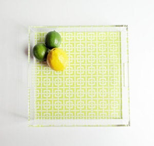 Image of Chartreuse Lucite Tray with Handles