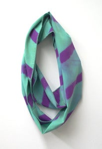 Image of turquoise/purple chevron shibori cowl