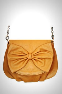 Image of 'Yellow the Bow' Leather Mini Shoulder Bag