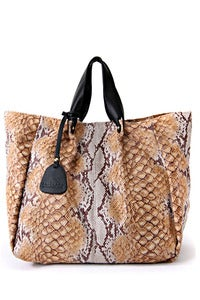 Image of 'Falling Leaves' Tan Python Printed Shopper Bag