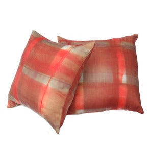 Image of nude plaid pillow