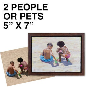 "Image of Commissioned 5"" x 7"" Painting - 2 people/pets"