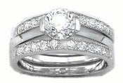 Image of  CZ Band Engagement ring ,Wedding Band Set, Anniversary ,.925  Sterling Silver Jewelry