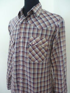 Image of Levi's plaid western-cut cowboy shirt