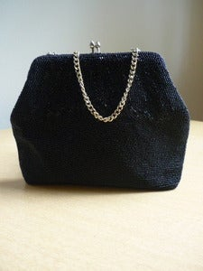 Image of black beaded evening handbag
